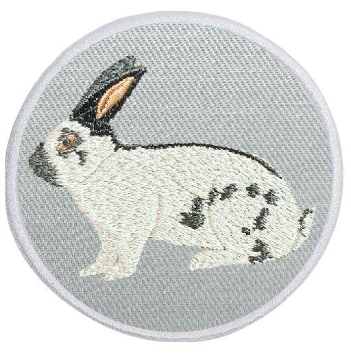 Kaninchen Deutsche Riesenschecke blau-weiß ... Aufnäher Patch 8 cm (2023)