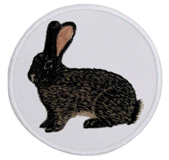Kaninchen Deutsche Riesen eisengrau ... Aufnäher Patch 8 cm (2012)