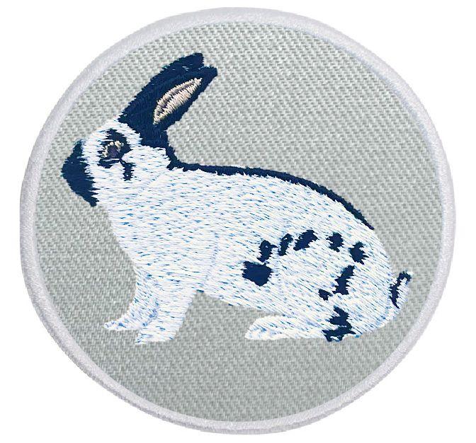 Kaninchen Deutsche Riesenschecke schwarz-weiß ... Aufnäher Patch 8 cm (2020)