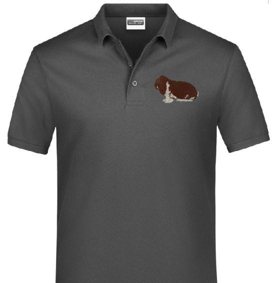 Polo-Shirt bestickt mit Deutscher Widder havanna weiß P2031 anthrazit 3XL
