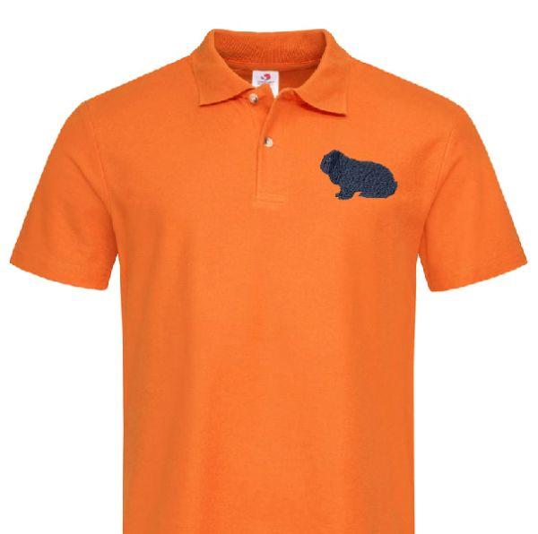 Polo-Shirt bestickt mit Kaninchen Deutscher Widder blau  P2014 anthrazit 3XL