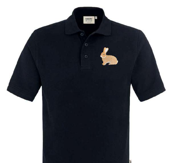 Polo-Shirt bestickt mit Kaninchen Dt. Riesen gelb P2008 anthrazit 3XL