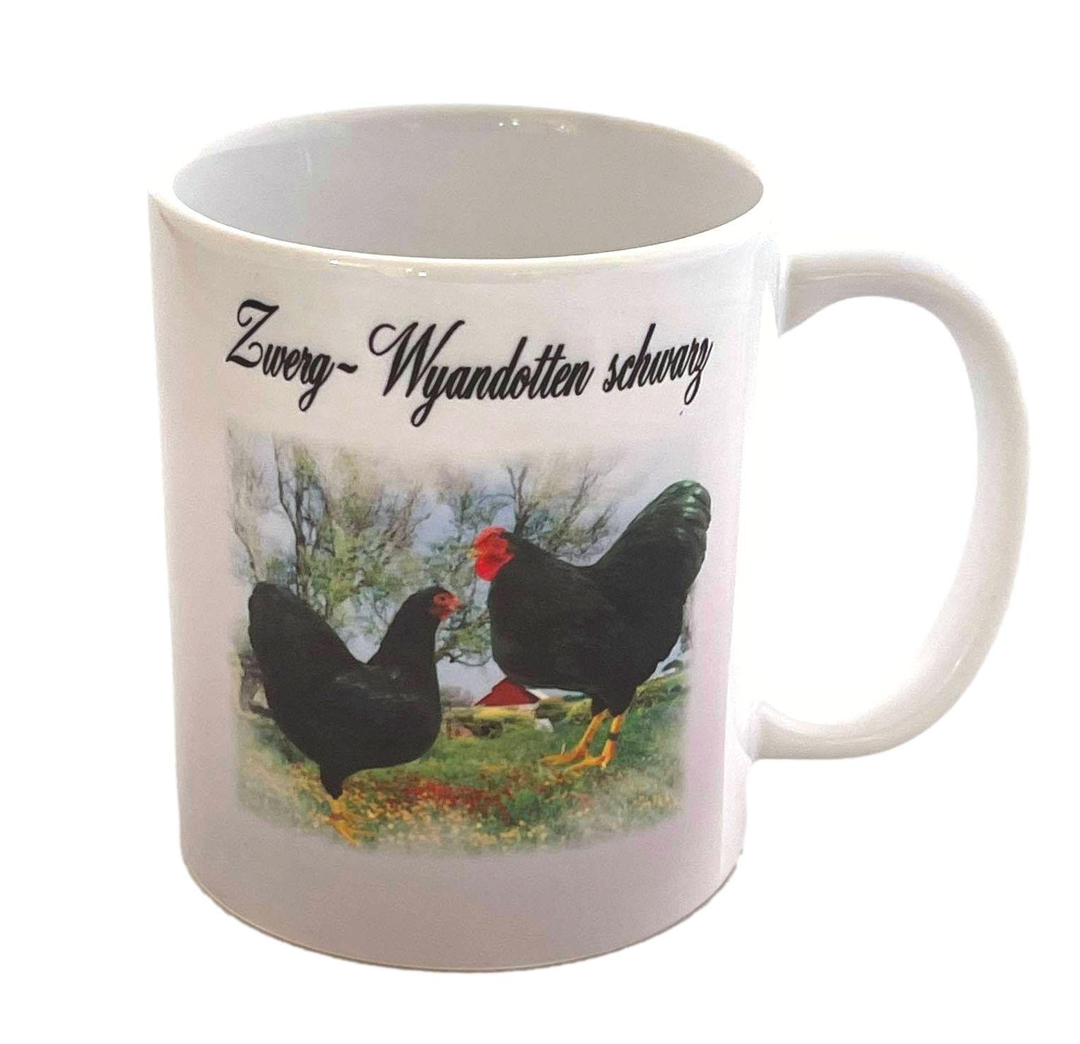Kaffeetasse Tasse Hühner  Zwerg Wyandotten schwarz  T12