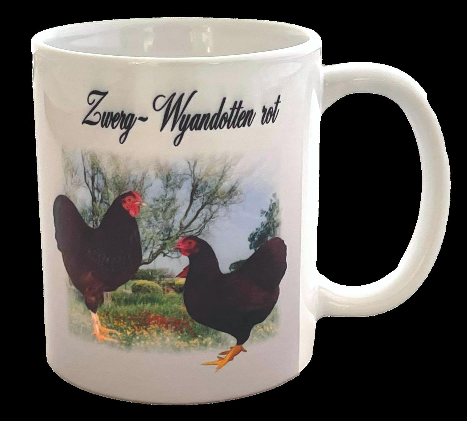 Kaffeetasse Tasse Hühner  Zwerg Wyandotten rot  T13