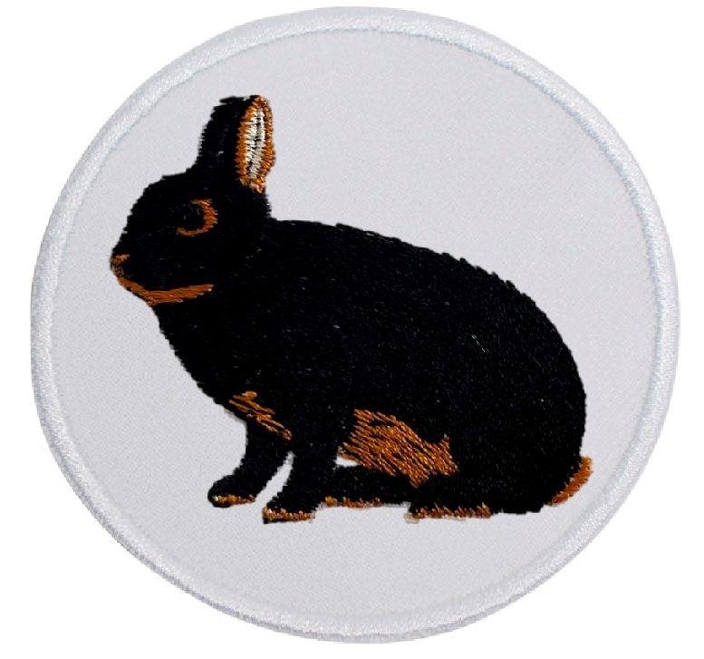 Kaninchen Farbenzwerge lohfarbig schwarz ... Aufnäher Patch 8 cm (2000)