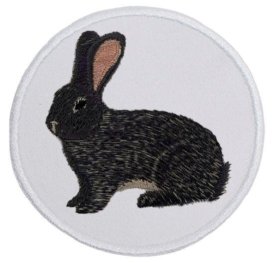 Kaninchen Deutscher Riese dunkelgrau ... Aufnäher Patch 8 cm (2028)