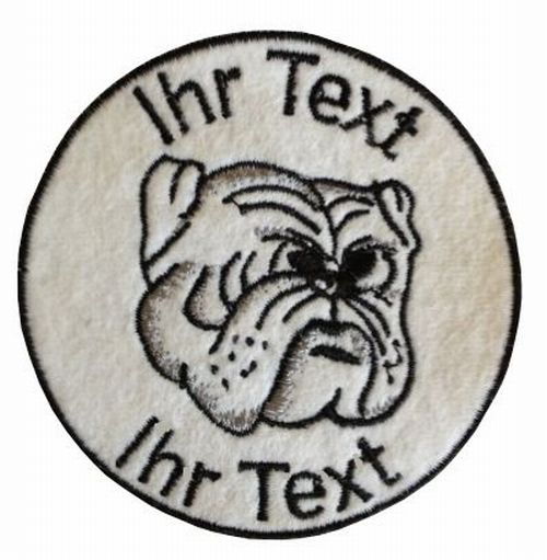 Bulldogge Aufnäher mit Wunschtext Hundezüchter Patch 10cm  (68)
