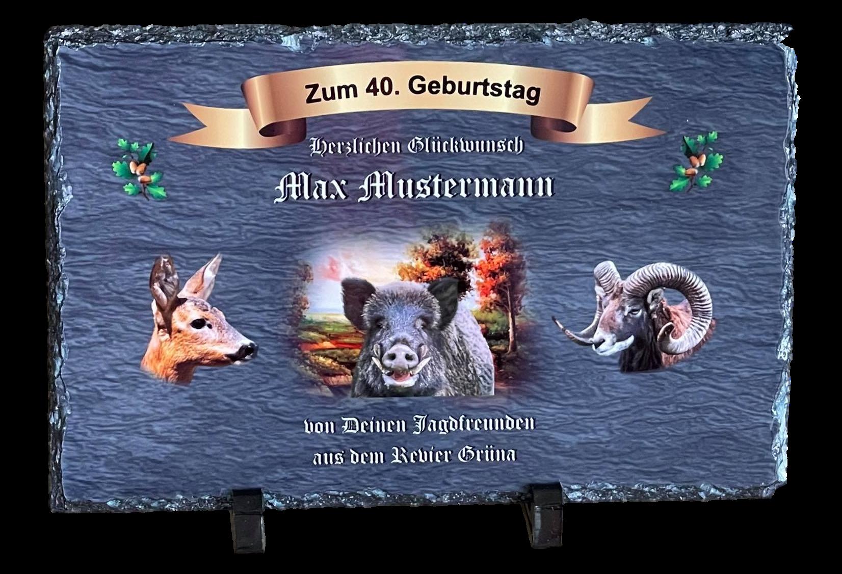 personalisierte Schieferplatte 30x20 für Jäger mit Wunschtext S002