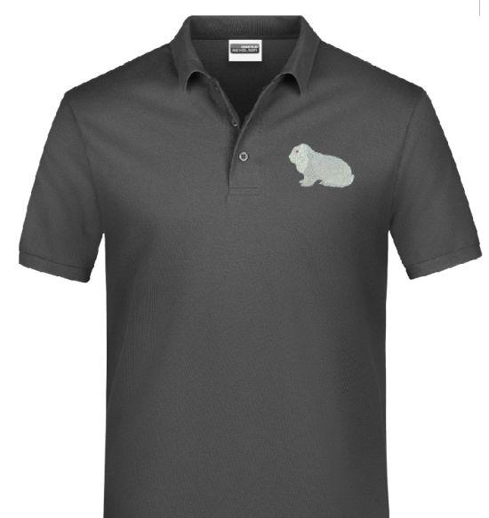 Polo-Shirt bestickt mit Deutscher Widder weiß R/A P2035 anthrazit 3XL
