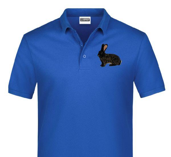 Polo-Shirt bestickt mit Kaninchen Deutscher Riese eisengrau P2012 anthrazit 3XL