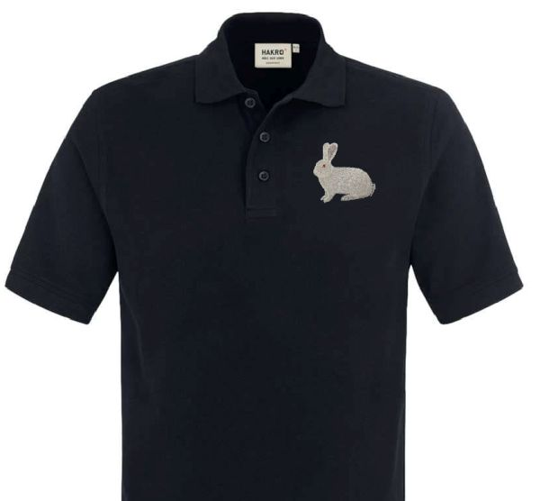 Polo-Shirt bestickt mit Kaninchen Deutscher Riese weiß P2010 anthrazit 3XL